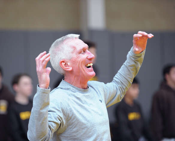 Brunswick wrestling coach Tim Ostyre reacts during a match in the Brunswick Invitational Wrestling Tournament at the school in Greenwich, Saturday, Jan. 19, 2013. Photo: Bob Luckey / Greenwich Time