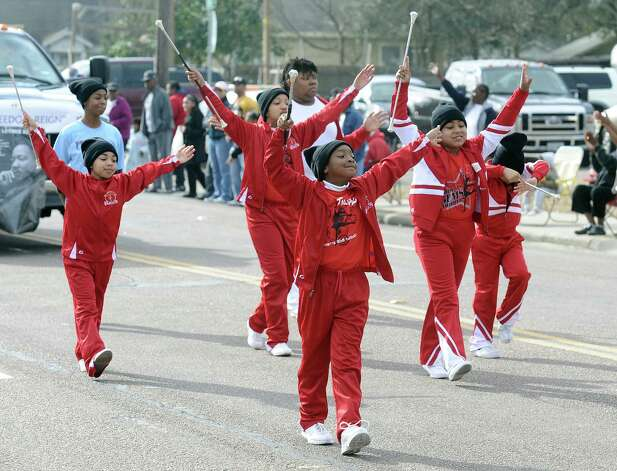 The Blanchette Elementary School Gem Twirlers march by during the Martin Luther King, Jr. parade on Highland Avenue in Beaumont on Saturday, January, 19, 2013. Photo taken: Randy Edwards/The Enterprise Photo: Randy Edwards