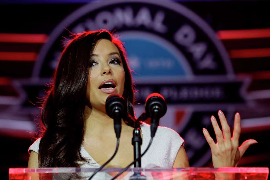 Presidential Inaugural Committee Co-Chair Eva Longoria gestures as she participates in the opening ceremony for the National Day of Service as part of the 57th Presidential Inaugural festivities, Saturday, Jan. 19, 2013, in Washington. Photo: Steve Helber, Associated Press / AP