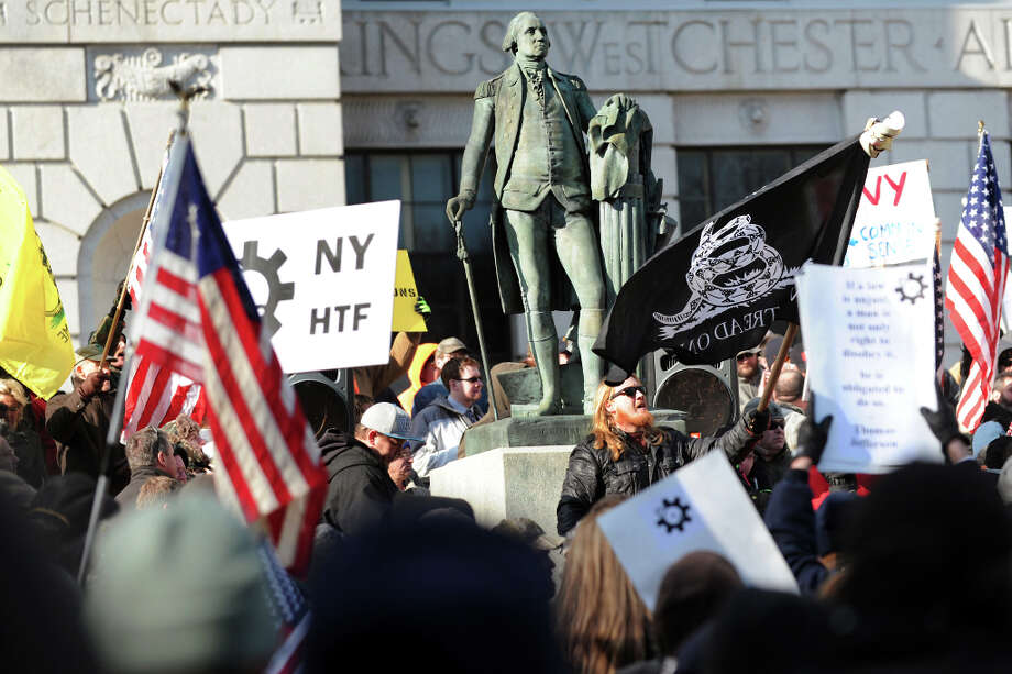 Pro-Second Amendment and pro-gun supporters attend a national rally on Saturday, Jan. 19, 2013, at the Capitol in Albany, N.Y. (Cindy Schultz / Times Union) Photo: Cindy Schultz, Albany Times Union / 00020818A
