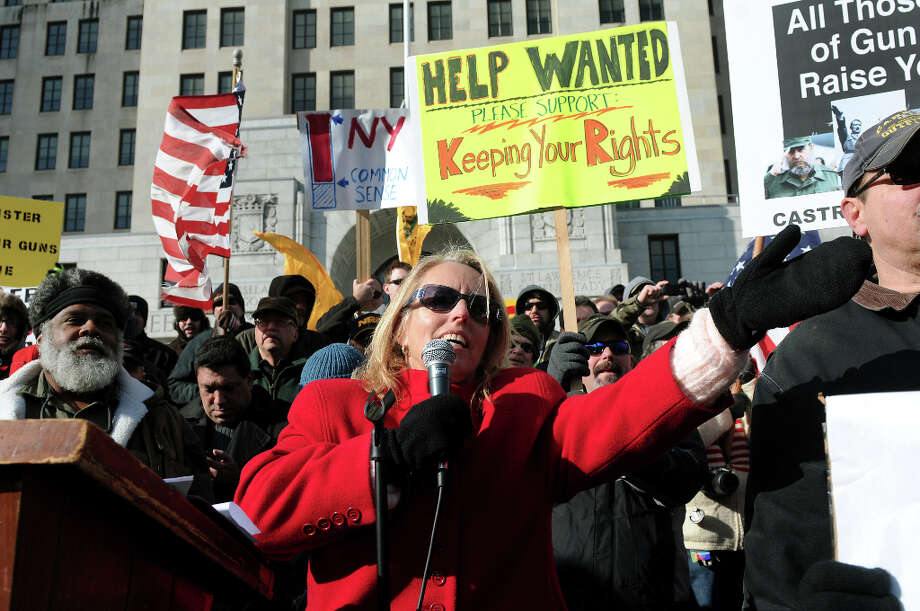 Melody Burns of Talk 1300 AM speaks during a pro-Second Amendment and pro-gun national rally on Saturday, Jan. 19, 2013, at the Capitol in Albany, N.Y. (Cindy Schultz / Times Union) Photo: Cindy Schultz, Albany Times Union / 00020818A