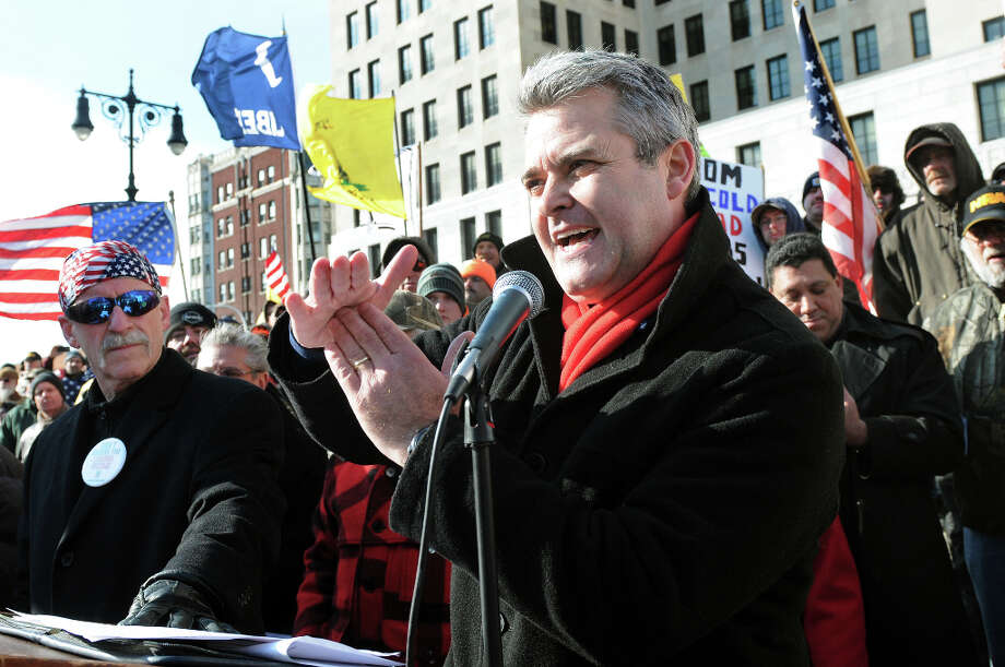 Assemblyman Steve McLaughlin speaks during a pro-Second Amendment and pro-gun national rally on Saturday, Jan. 19, 2013, at the Capitol in Albany, N.Y. (Cindy Schultz / Times Union) Photo: Cindy Schultz, Albany Times Union / 00020818A