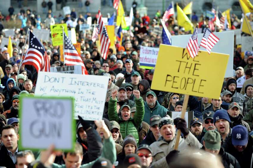 Pro-Second Amendment and pro-gun supporters attend a rally on Saturday, Jan. 19, 2013, at the Capitol in Albany, N.Y. (Cindy Schultz / Times Union)
