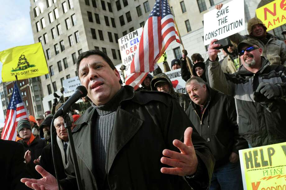 Anthony Mele of AMI Global Security speaks during a pro-Second Amendment and pro-gun national rally on Saturday, Jan. 19, 2013, at the Capitol in Albany, N.Y. (Cindy Schultz / Times Union) Photo: Cindy Schultz / 00020818A