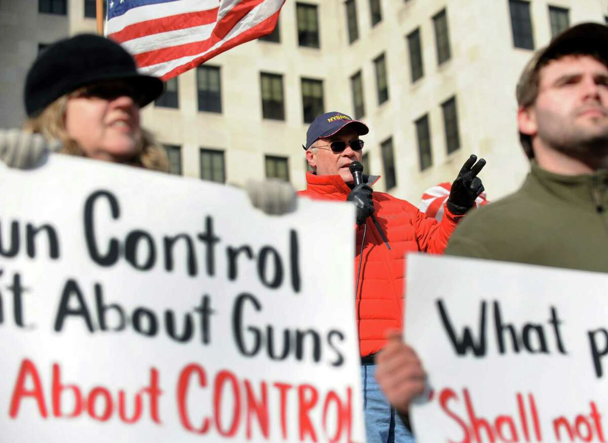 Tom King, president of the New York State Rifle and Pistol Association, center, speaks during a pro-Second Amendment and pro-gun national rally on Saturday, Jan. 19, 2013, at the Capitol in Albany, N.Y. (Cindy Schultz / Times Union)