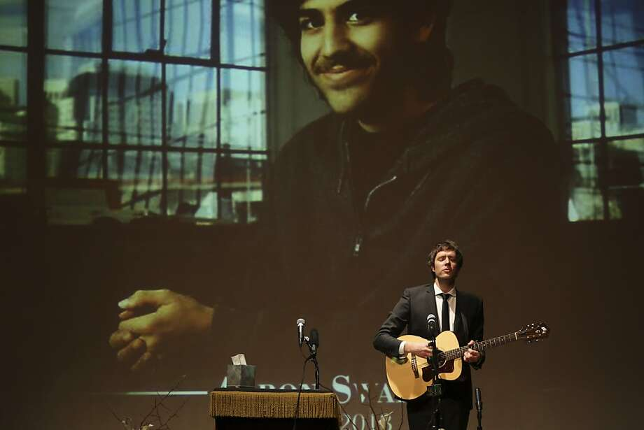 Damian Kulas of the band OK Go performs at the memorial service for digital activist Aaron Swartz in New York City. Photo: Mary Altaffer, Associated Press