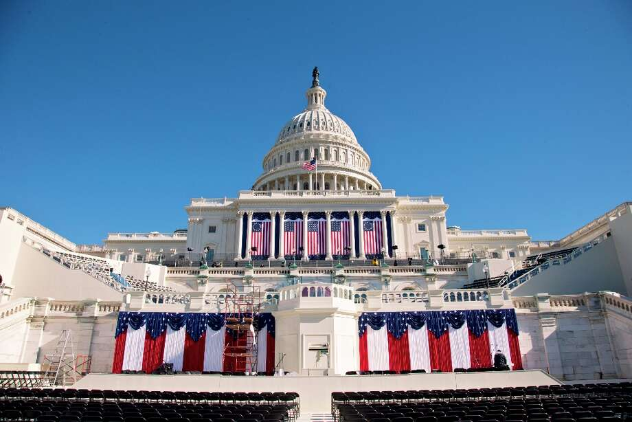 The West Front of the Capitol in Washington is dressed in red, white and blue with two days to go before the 57th Presidential Inauguration and President Obama's second inauguration, Saturday, Jan. 19, 2013. Photo: J. Scott Applewhite, Associated Press / AP