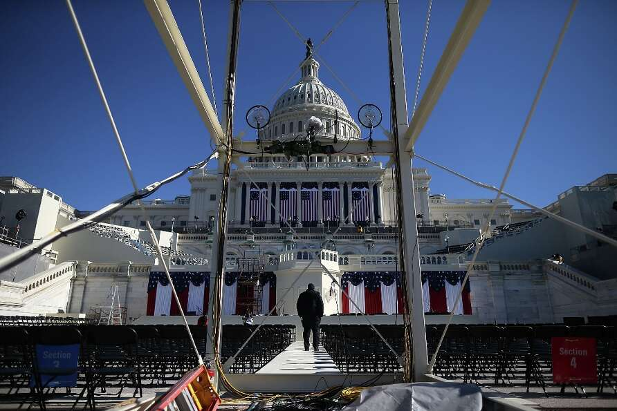 A U.S. Capitol Police officer Jeffery stands guard on the inauguration platform at the U.S. Capitol