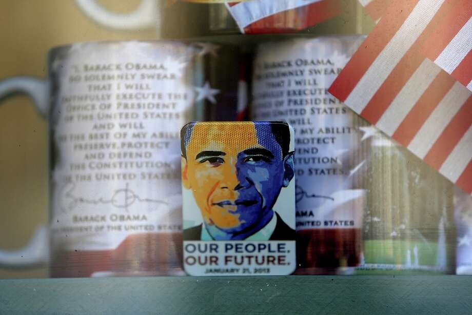 A gift shop displays presidential memorabilia as Washington prepares for President Barack Obama's second inauguration on January 19, 2013 in Washington, DC. The U.S. capital is preparing for the second inauguration of U.S. President Barack Obama, which will take place on January 21. Photo: Mario Tama, Getty Images / 2013 Getty Images