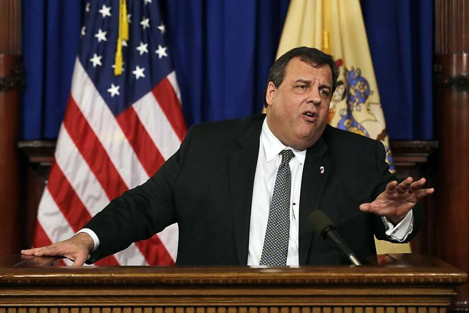 New Jersey Gov. Chris Christie answers a question Thursday, Jan. 17, 2013, in Trenton, N.J. Christie said New Jersey is taking a more deliberative approach to gun control, mental health and school security by forming a task force to study the issues and make recommendations within 60 days. Christie refused to take a position on President Barack Obama's call for a federal ban on assault weapons. The governor was asked several times at the Statehouse news conference Thursday to weigh in on Obama's proposals for bans on assault weapons and magazines capable of holding more than 10 rounds. (AP Photo/Mel Evans) Photo: Mel Evans, Associated Press