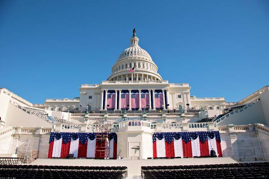 The West Front of the Capitol in Washington is dressed in red, white and blue with two days to go be