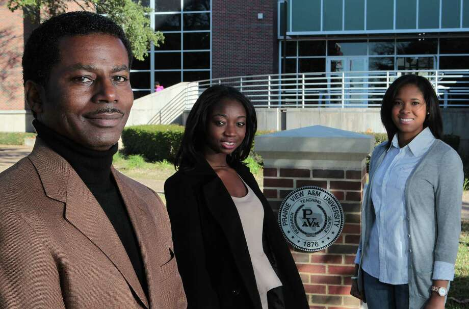 Nelson Bowman III, director of development at Prairie View A&M University, is pleased that the school's newly created endowment campaign has been embraced by student leaders like Edna Idan, center, and Priscilla Barbour. Photo: James Nielsen, Staff / © Houston Chronicle 2013