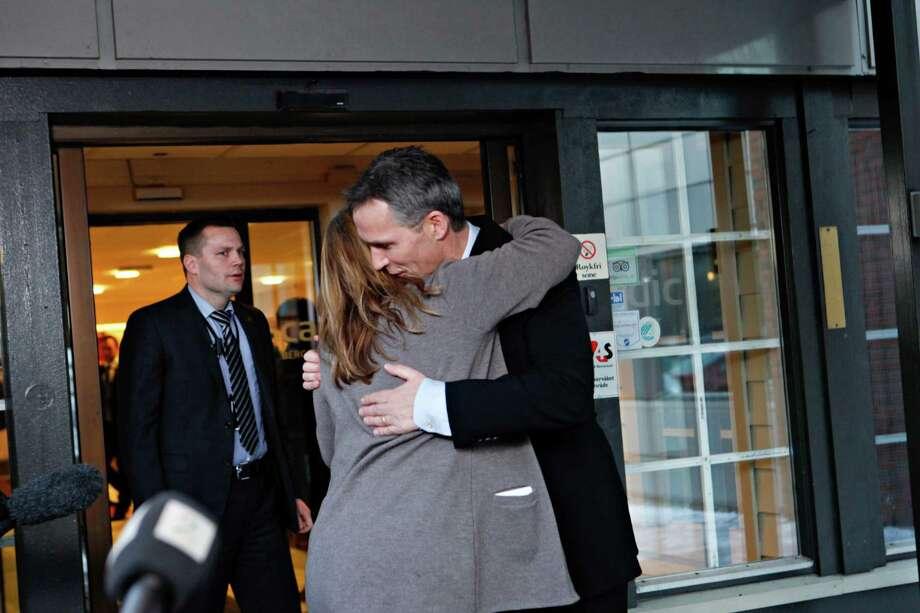Norway's Prime Minister Jens Stoltenberg is embraced by Executive Vice President in Statoil, Margrethe Oevrum, Saturday Jan. 19,  2013, after his visit at the drop-in center in Bergen for relatives of the Statoil-employees taken hostage in Algeria. In a bloody finale on Saturday, Algerian special forces stormed a natural gas complex in the Sahara desert to end a four-day standoff with Islamic extremists that left at least 19 hostages and 29 militants dead. With few details emerging from the remote site, it was unclear whether anyone was rescued in the final operation. (AP Photo / Anette Karlsen, NTB scanpix) NORWAY OUT Photo: Anette Karlsen