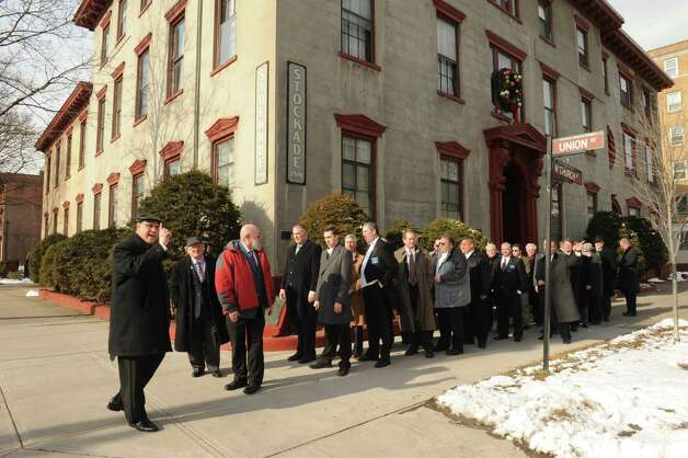 St. George?s Lodge No. 6 F. & A.M  Lodge Master Alex B. Smuckler leads brother Masons on a ceremonial march from the Stockade Inn to St. George's Episcopal Church as part of the ritual Table Lodge ceremony on Saturday Jan.19,2013 in Schenectady, N.Y. (Michael P. Farrell/Times Union) Photo: Michael P. Farrell