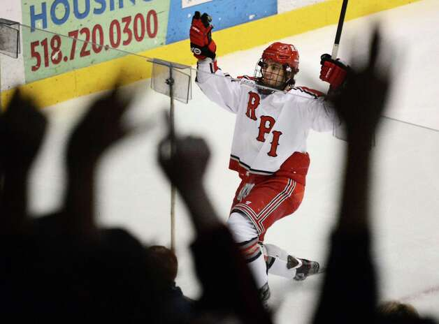 RPI's #29 Nick Bailen looks up to the fans after scoring against Cornell at the Houston Field House in Troy Saturday Jan. 19, 2013.  (John Carl D'Annibale / Times Union) Photo: John Carl D'Annibale / 00020777A