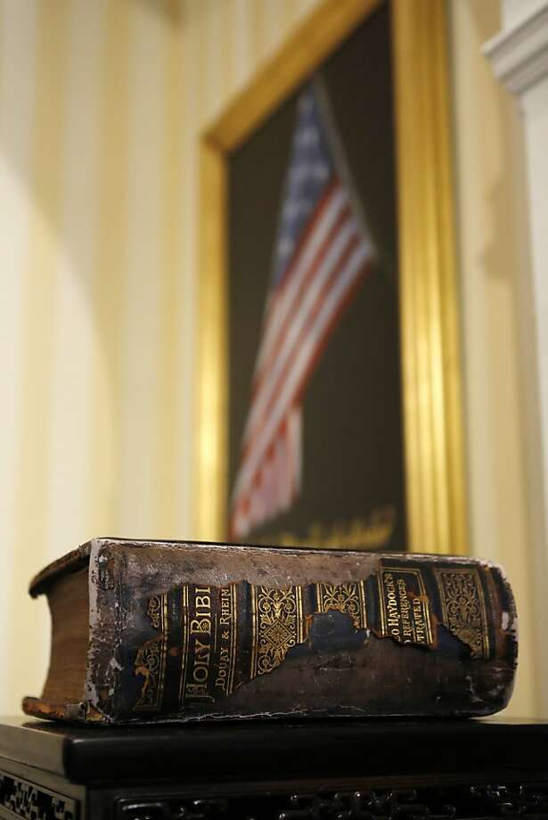 The family bible used by U.S. Vice President Joe Biden for the oath of office at the U.S. Naval Observatory in Washington, Sunday,  January 20, 2013. Photo: Kevin Lamarque, Associated Press