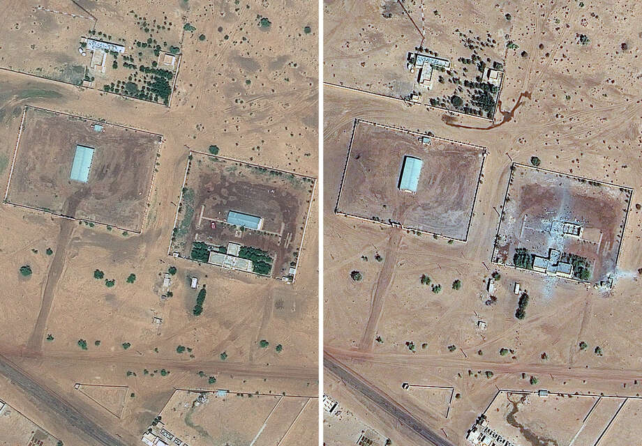 This combination of two satellite images provided by GeoEye shows on the left an area of Gao, northern Mali, believed to have been occupied by Islamist rebels on Sept. 27, 2012, and on the right the same area in Gao on Tuesday after air strikes carried out by a French military operation begun last week to oust al-Qaida-linked militants who seized control of northern Mali about nine months ago. Photo: AP