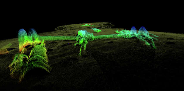 This 2012 high-resolution 3-D sonar image provided by the National Oceanic and Atmospheric Administration shows the remains of the USS Hatteras, the only U.S. Navy ship sunk in combat in the Gulf of Mexico during the Civil War. The view is from the vessel's port side, toward its stern. The long paddlewheel shaft, bent and angled, rests on the seabed with the fragmented remains of the port side paddlewheel on the right. Photo: AP