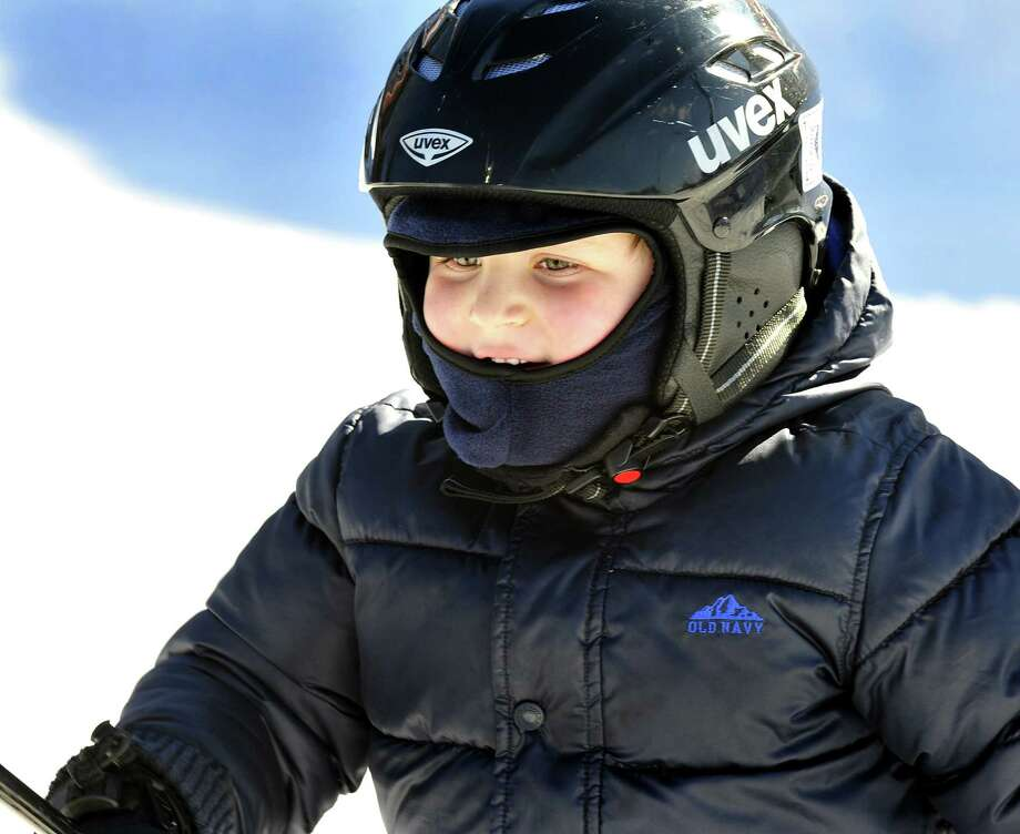 Ben Lasser, 4, of New Milford faces the slope during a pre-K ski lesson at Thunder Ridge Ski Area in Patterson, N.Y. Friday, Jan. 18, 2013. Photo: Michael Duffy