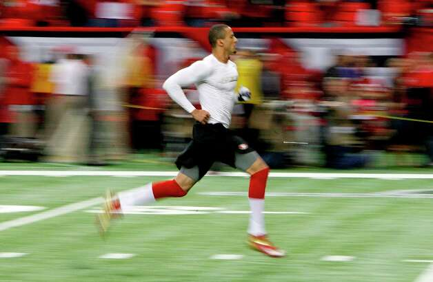 49ers quarterback Colin Kaepernick warms up before as the San Francisco 49ers take on the Atlanta Falcons in the NFC Championship game on Sunday Jan. 20,  2013,  at the Georgia Dome in Atlanta Ga. Photo: Michael Macor, The Chronicle / ONLINE_YES