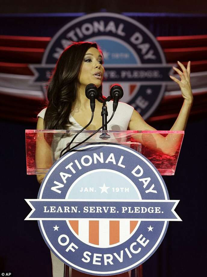 Eva Longoria speaks at the Day of Service Summit Saturday to encourage Americans across the country to participate in service project for their communities. Photo: © AP