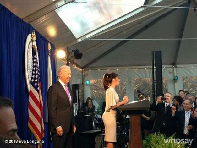 Eva Longoria speaks at a weekend Inaugural event with VP Joe Biden.