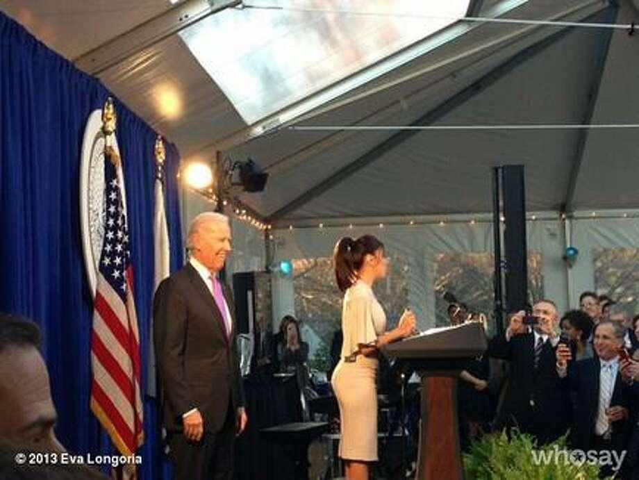 Eva Longoria speaks at a weekend Inaugural event with VP Joe Biden.