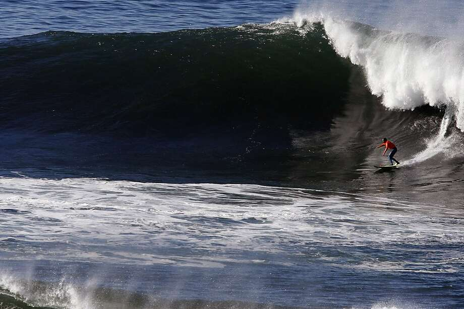 Josh Loya drops in on a wave at Mavericks Surf Competition in Heat 3 on January 20, 2013 in Half Moon Bay, Calif.on January 20, 2013 in Half Moon Bay, Calif. Photo: Sean Havey, The Chronicle