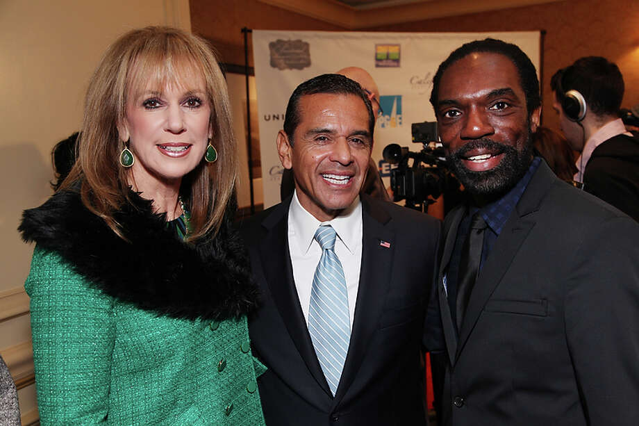 Norine Fuller, , Luncheon Chair joins Los Angeles Mayor, Antonio Villaraigosa and Fashion Designer Kevan Hall as the California State Society and FIDM/Fashion Institute of Design & Merchandising present a Presidential Inaugural Luncheon and Fashion Show at the Ritz Cartlon Hotel in Washington, DC on Saturday, January 19, 2013. Photo: Alex J. Berliner, AP / ABImages
