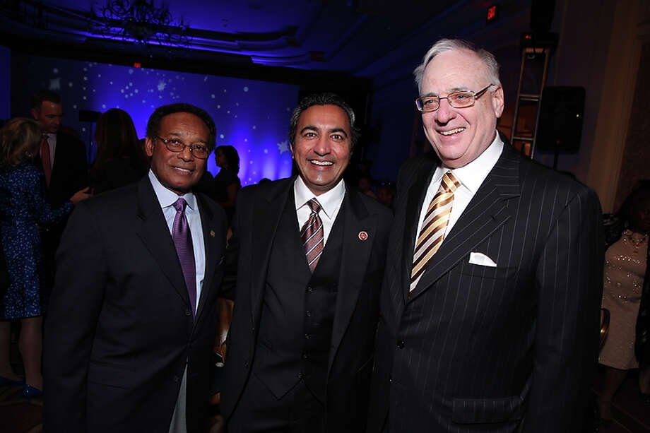 Robert Harris, Congressman Ami Bera (CA-7) and Dan Richard gather as the California State Society and FIDM/Fashion Institute of Design & Merchandising present a Presidential Inaugural Luncheon and Fashion Show at the Ritz Cartlon Hotel in Washington, DC on Saturday, January 19, 2013. Photo: Alex J. Berliner, AP / ABImages