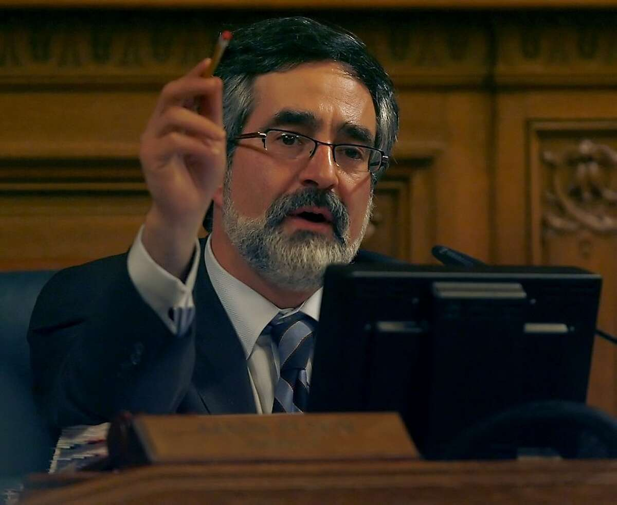 San Francisco Board of Supervisors President Aaron Peskin presides over the final Supes meeting of 2008 on Tuesday, Dec. 16, 2008 at San Francisco, Calif., City Hall.