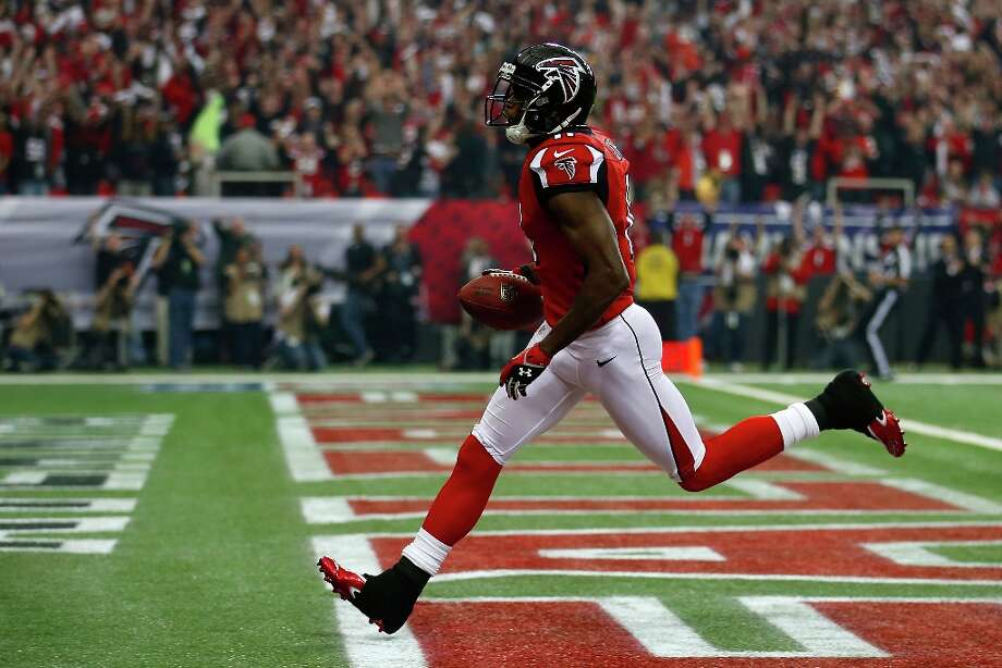 Wide receiver Julio Jones #11 of the Atlanta Falcons catches a 46-yard touchdown in the first quarter against the San Francisco 49ers in the NFC Championship game at the Georgia Dome on January 20, 2013 in Atlanta, Georgia. Photo: Chris Graythen, Getty Images / 2013 Getty Images