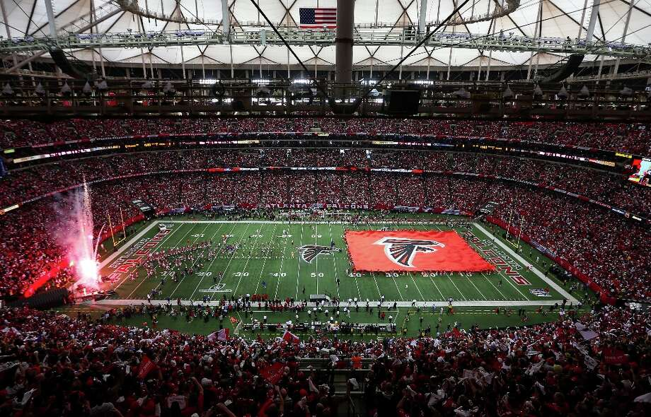 The Atlanta Falcons are introduced before taking on the San Francisco 49ers in the NFC Championship game at the Georgia Dome on January 20, 2013 in Atlanta, Georgia. Photo: Mike Ehrmann, Getty Images / 2013 Getty Images