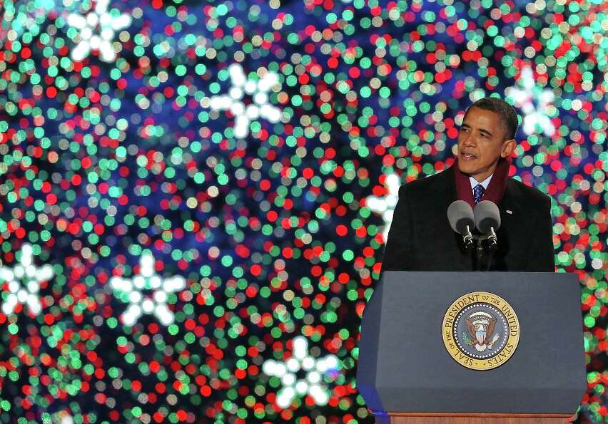 U.S. President Barack Obama speaks after lighting of the National Christmas tree on December 6, 2012