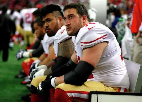 San Francisco 49ers Offensive tackle Joe Staley (74) and Offensive guard Mike Iupati (77) before the San Francisco 49ers game against the Atlanta Falcons in the NFC Championship game at the Georgia Dome in Atlanta, GA., on Sunday January 20, 2013. Photo: Luanne Dietz, The Chronicle / ONLINE_YES