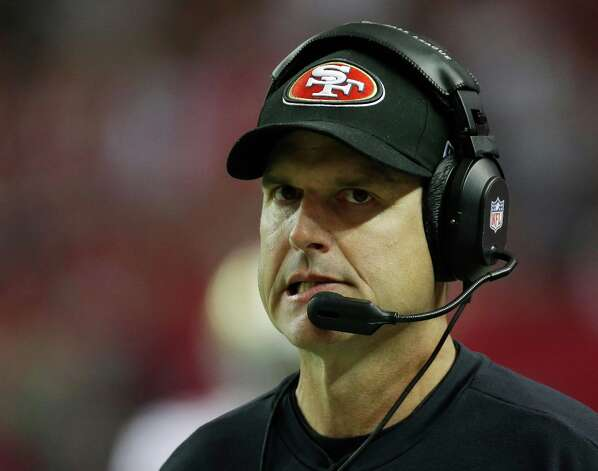 San Francisco 49ers head coach Jim Harbaugh watches his team during the first half of the NFL football NFC Championship game against the Atlanta Falcons Sunday, Jan. 20, 2013, in Atlanta. Photo: Dave Martin, Associated Press / AP