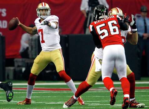 San Francisco 49ers Quarterback Colin Kaepernick (7) during the second quarter of the San Francisco 49ers game against the Atlanta Falcons in the NFC Championship game at the Georgia Dome in Atlanta, GA., on Sunday January 20, 2013. Photo: Brant Ward, The Chronicle / San Francisco Chronicle
