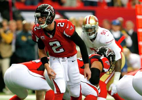 Atlanta Falcons quarterback Matt Ryan (2)  during the first quarter of the San Francisco 49ers game against the Atlanta Falcons in the NFC Championship game at the Georgia Dome in Atlanta, GA., on Sunday January 20, 2013. Photo: Carlos Avila Gonzalez, The Chronicle / ONLINE_YES