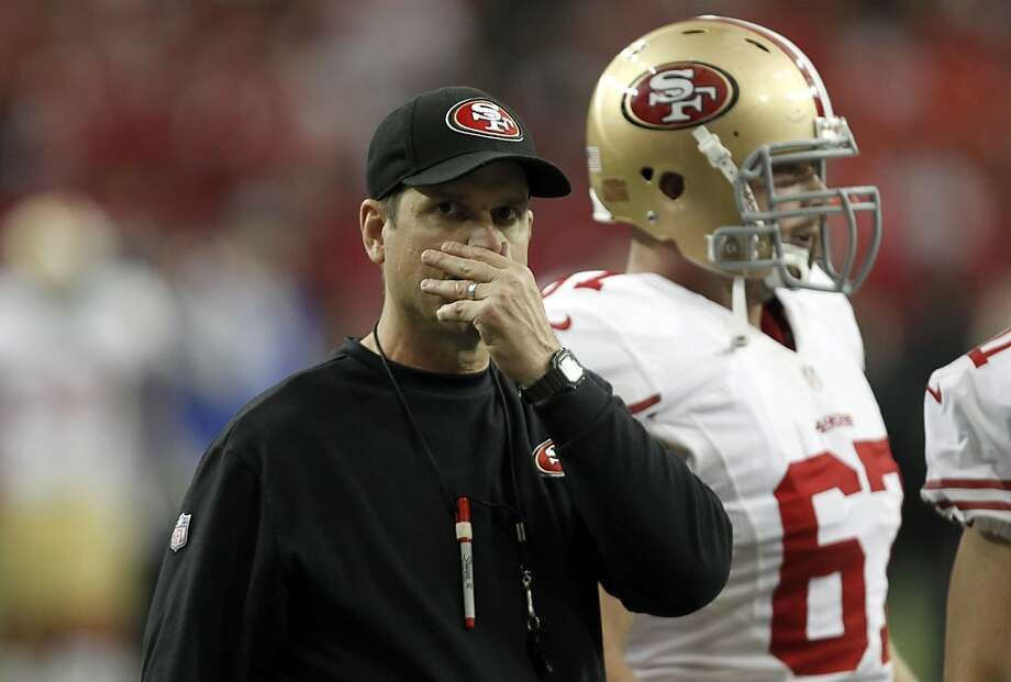 San Francisco 49ers coach Jim Harbaugh during warm ups before the San Francisco 49ers game against the Atlanta Falcons in the NFC Championship game at the Georgia Dome in Atlanta, GA., on Sunday January 20, 2013. Photo: Michael Macor, The Chronicle