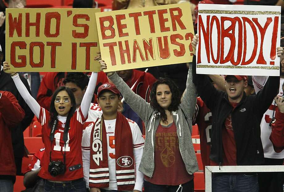 San Francisco 49ers fans before the San Francisco 49ers game against the Atlanta Falcons in the NFC Championship game at the Georgia Dome in Atlanta, GA., on Sunday January 20, 2013. Photo: Brant Ward, The Chronicle
