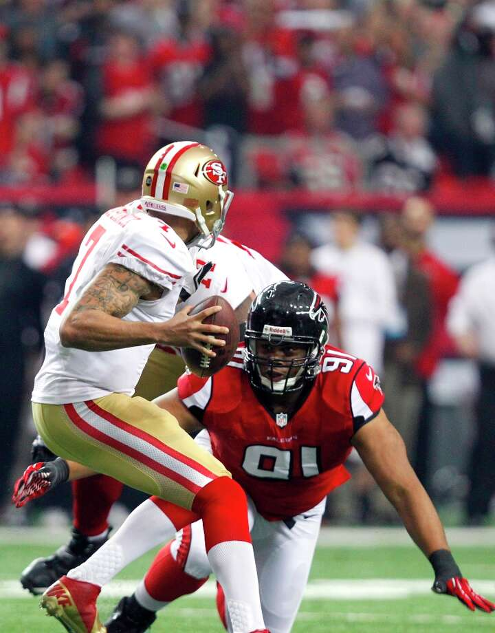 San Francisco 49ers Quarterback Colin Kaepernick (7) is sacked by Defensive tackle Ray McDonald (91) in the first quarter of the San Francisco 49ers game against the Atlanta Falcons in the NFC Championship game at the Georgia Dome in Atlanta, GA., on Sunday January 20, 2013. Photo: Michael Macor, The Chronicle / ONLINE_YES