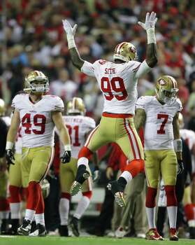 San Francisco 49ers' Aldon Smith reacts after recovering a fumble during the second half of the NFL football NFC Championship game against the Atlanta Falcons Sunday, Jan. 20, 2013, in Atlanta. Photo: David Goldman, Associated Press / AP
