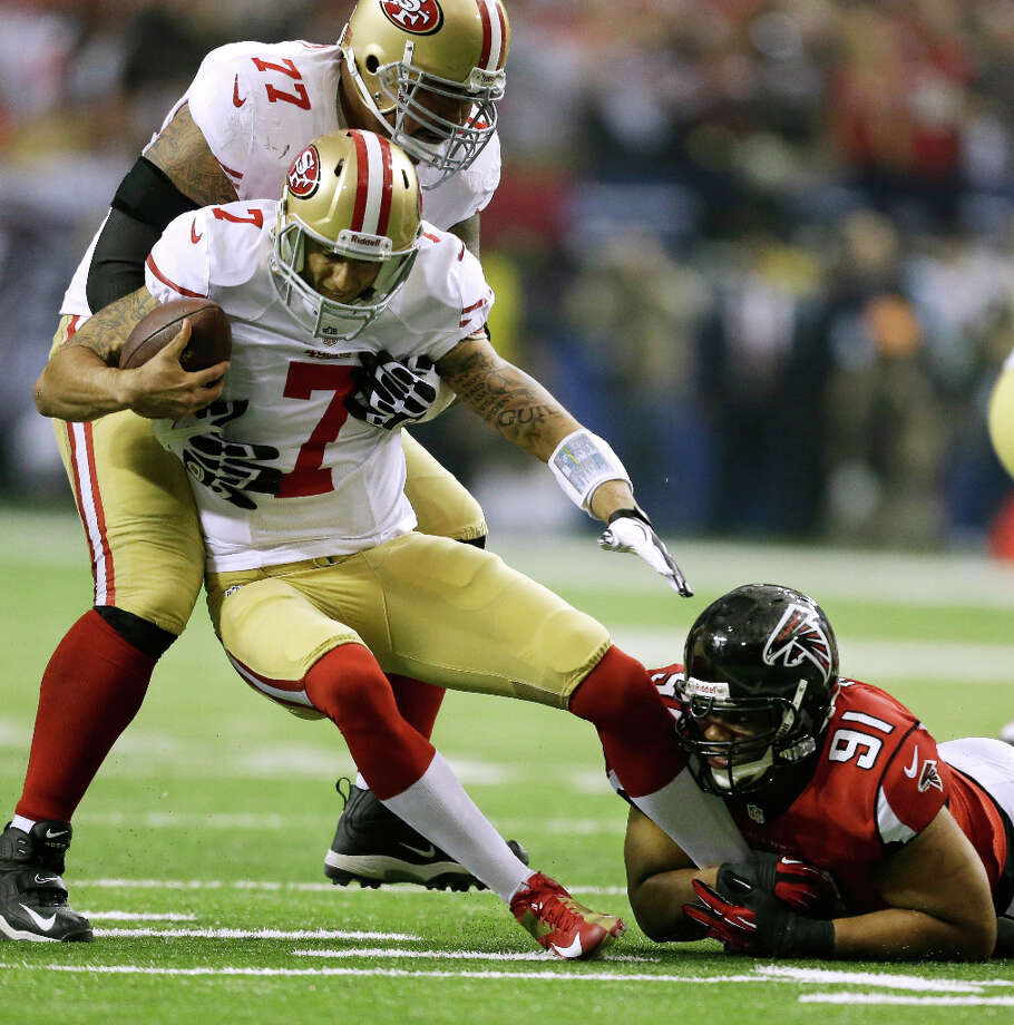 Corey Peters of the Falcons sacks 49ers quarterback Colin Kaepernick during the first half. Photo: David Goldman