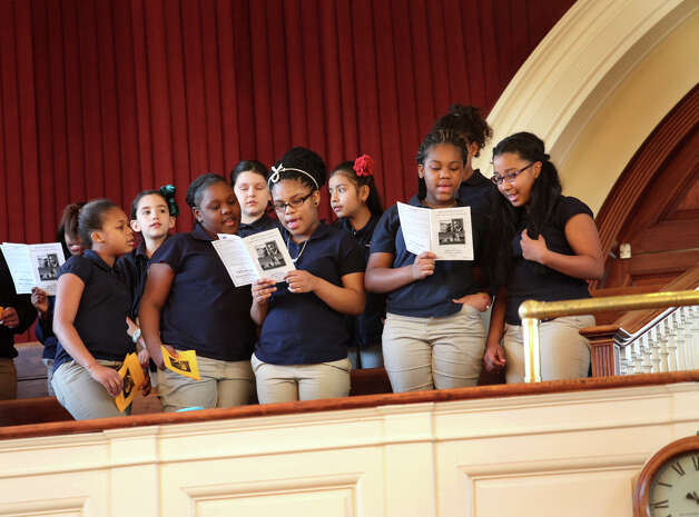 The Celentano Museum Academy chorus performs during The Links, Inc. tribute to Rev. Dr Martin Luther, jr.  in Milford, Conn, on Sunday, January 20, 2013. Photo: BK Angeletti, B.K. Angeletti / Connecticut Post freelance B.K. Angeletti