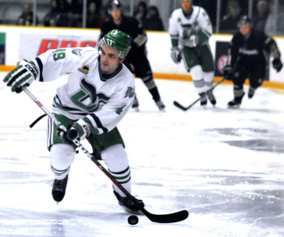 Danbury Whalers Adam Houli moves against the Danville Dashers Sunday, Jan. 20, 2013 in Danbury. Photo: Michael Duffy