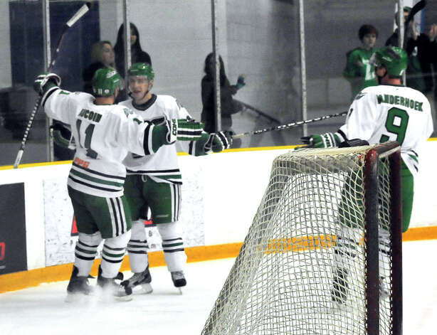 Danbury Whalers Phil Aucoin, far left, and Alec Kirschner,celebrate the first Whalers goal against the Danville Dashers Sunday, Jan. 20, 2013 in Danbury. At right is Joe Pale. Photo: Michael Duffy