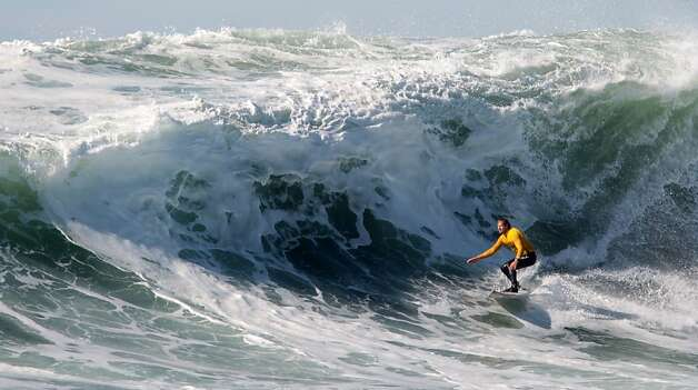 Chris Bertish rides the inside section of a wave during the semi-finals at the Mavericks Invitational on Sunday, January 20, 2013. Photo: Mathew Sumner, Special To The Chronicle