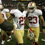 Frank Gore and LaMichael James greeted each other after the game. The San Francisco 49ers beat the Atlanta Falcons 28-24 to win the NFC title and advance to the Super Bowl Sunday January 20, 2013.