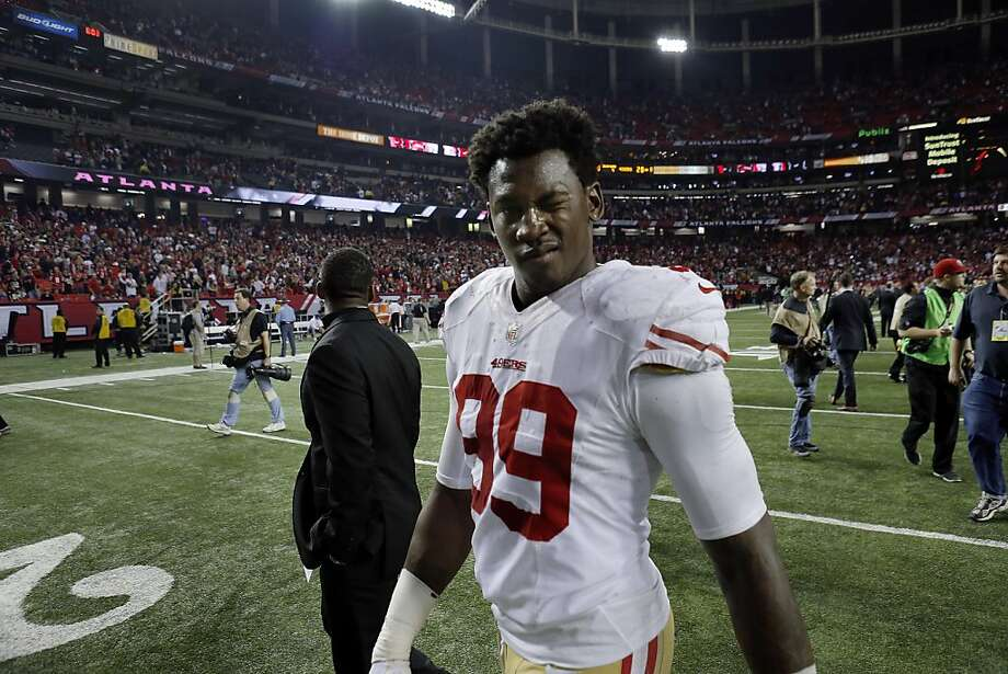 Aldon Smith winks at the camera after the 49ers defeated the Falcons on Sunday. The San Francisco 49ers played the Atlanta Falcons in the NFC Championship Game in the Georgia Dome in Atlanta, Ga., on Sunday, January 20, 2013. The 49ers defeated the Falcons 28-24 and advancing to the Superbowl. Photo: Carlos Avila Gonzalez, The Chronicle