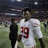 Aldon Smith winks at the camera after the 49ers defeated the Falcons on Sunday. The San Francisco 49ers played the Atlanta Falcons in the NFC Championship Game in the Georgia Dome in Atlanta, Ga., on Sunday, January 20, 2013. The 49ers defeated the Falcons 28-24 and advancing to the Superbowl.